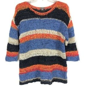J Jill Blue Orange Multicolor Striped Sweater Sz M